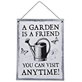 Vintage Retro Blechschild, Modell , A GARDEN IS A FRIEND YOU CAN VISIT ANYTIME, Material Metall , Maße 24 x 19 cm, weiss, ideal für Bar, Cafe, Cafeteria oder einfach Zuhause. Incl. Träger zum Aufhängen an Tür und Wand