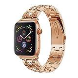 Altsommer Armband 22mm für Apple Watch Series 4 40MM Luxus Edelstahl mit Strasssteinen Edelstahl Armbände Replacement Wrist Strap Band Zubehör für Damen Herren,Gold (135mm-205mm) (Rose Gold)