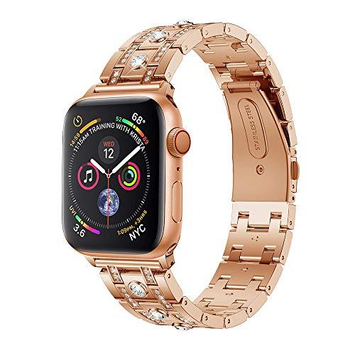 mm für Apple Watch Series 4 40MM Luxus Edelstahl mit Strasssteinen Edelstahl Armbände Replacement Wrist Strap Band Zubehör für Damen Herren,Gold (135mm-205mm) (Rose Gold) ()