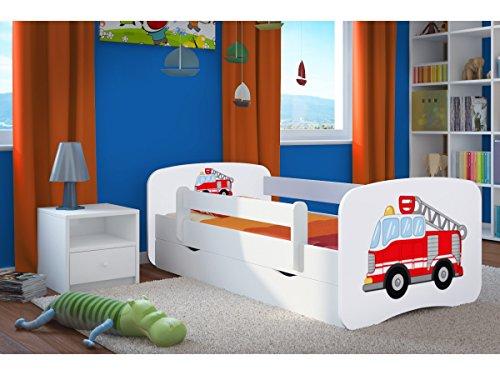 feuerwehrbett Kocot Kids Kinderbett Jugendbett 70x140 80x160 80x180 Weiß mit Rausfallschutz Matratze Schublade und Lattenrost Kinderbetten für Mädchen und Junge - Feuerwehr 160 cm