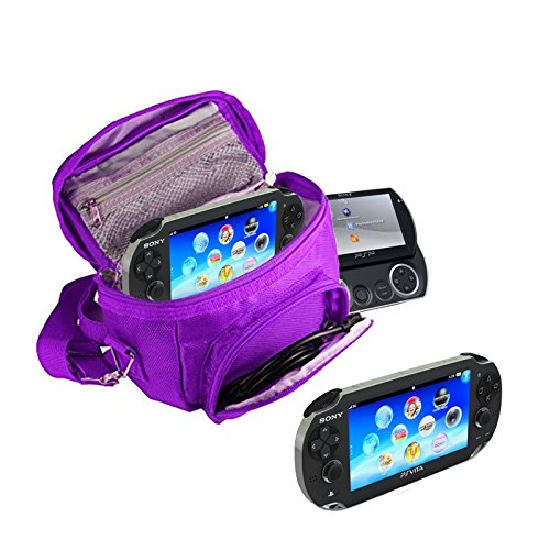 Orzly® - GAME & CONSOLE TRAVEL BAG for Sony PSP Consoles (GO/VITA/1000/2000/3000) Has Special Compartments for Games & Accessories. Bag includes Shoulder Strap + Carry Handle + Belt Loop - PURPLE