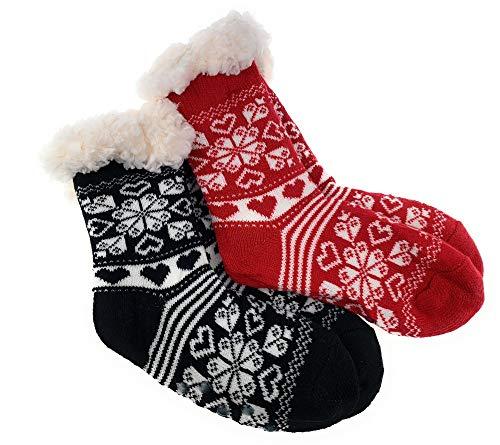 2 Paar Mädchen Hütten Socken Teddyfutter Kuschelsocken Lammfellimitat ABS-Sohle (Rot/Schwarz, 32-35)