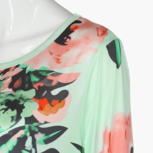 Oyedens Femmes imprimé floral à manches longues Boho Dress Ladies Evening Party Maxi Dress Vert