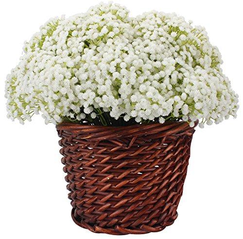 xiuer Künstliche Baby Atem Flower Gipskraut weiß für Hochzeit Home Decor Geschenk, 8Stück (Haar-accessoires Seidenblumen)