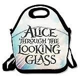 bakeiy Alice a través del de cristal bolsa de almuerzo con asa caja de almuerzo neopreno bolso para niños y adultos para viajes y Picnic escuela