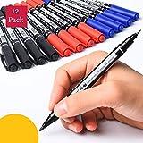 à double pointe 0,5/1mm rapide sec Permanent Sign Marquage stylos pour tissu en métal stylos feutres pour le dessin, Lot de 12 4 Black+4 Red+4 Blue