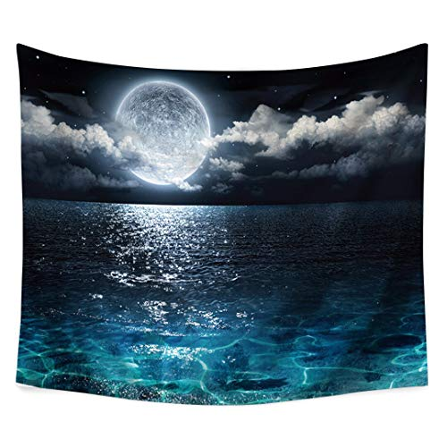 HCYHU Ocean Sea Moon Cloud Sky Printed Tapestry Tapestry Cloth Tapestries Large Wall Carpet Blanket Mat Bedroom Dorm Home Decor 150cm*200cm -