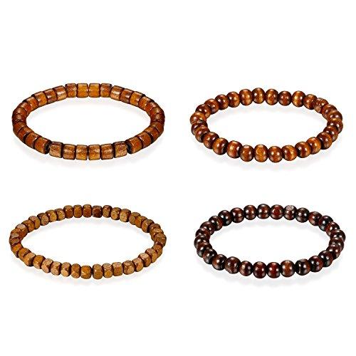 Flongo Armband Gebetskette Armkette, 4 Stück Holz Perle Perlen Kugel Gebetskette Armband Kette Hellbraun Surfer Wickeln für Damen Herren Accessoires Schmuckset