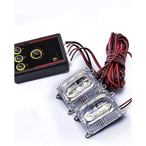 FULL2pcs moderna lampadina dell'automobile 3-LED multi-mode Strobe Flashing Day Time Running with controller - bianco, 6000k-bianco