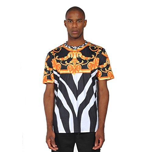 Pizoff Herren Luxus Hip Hop Mythology T-shirts mit Medusa Blüten Druckmuster Y0178-black---XXL