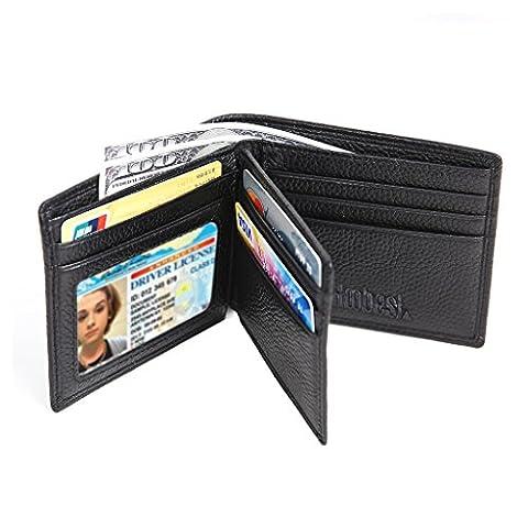 Hoobest Genuine Black Leather RFID Blocking Wallets Mens Wallet
