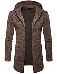 JiaMeng Männer Splicing Hooded Volltonfarbe Trenchcoats Mantel Jacken Strickjacke Langarm Outwear Mantel