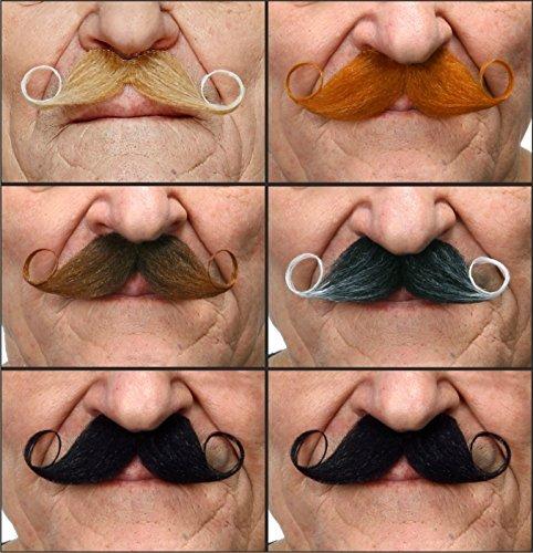 Mustaches Selbstklebende Fälscher Schnurrbart Neuheit Falsch Gesichtsbehaarung Kostümzubehör Party Eingestellt Wertpaket für Erwachsene (6pcs.)