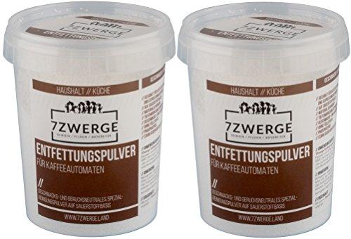 7Zwerge I 2 x 500 g Entfettungspulver I Reinigungspulver für Kaffeevollautomaten I Kaffee-Maschinen...