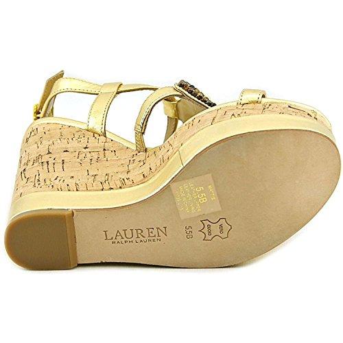 Lauren Ralph Lauren Mattie Leder Keilabsätze Sandale Rl Gold