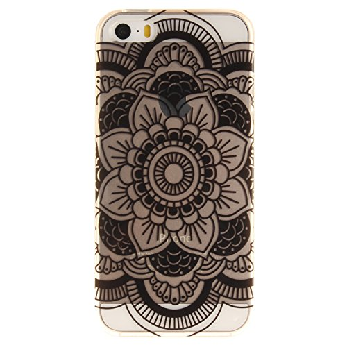 Coque Cover iphone SE iphone 5 iphone 5S, Cozy Hut iphone SE 5 5S Coque Housse Etui anti chocs Back Cover Bumper Case Anti Scratch Shock Absorption for iphone SE 5 5S Souple Silicone Etui iphone SE 5  tournesols noirs