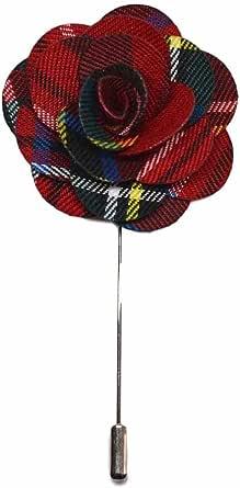 Red Tartan Handmade Flower Lapel Pin, Buttonhole, Corsage, Boutonniere