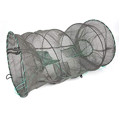 CHOULI Crab Crayfish Lobster Catcher Pot Trap Fish Net EEL Prawn Shrimp Live Bait Green - Fish Bait Net