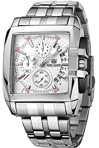 Megir Hommes Casual Luxury affaires Quartz Blanc Rectangulaire Chronographe
