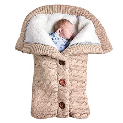 WANZIJING Swaddle Wrap Blanket Sleeping Bag für Neuborn Plus Velvet Soft Warm Comfy Sleep Sack (0-12 Monate),beige