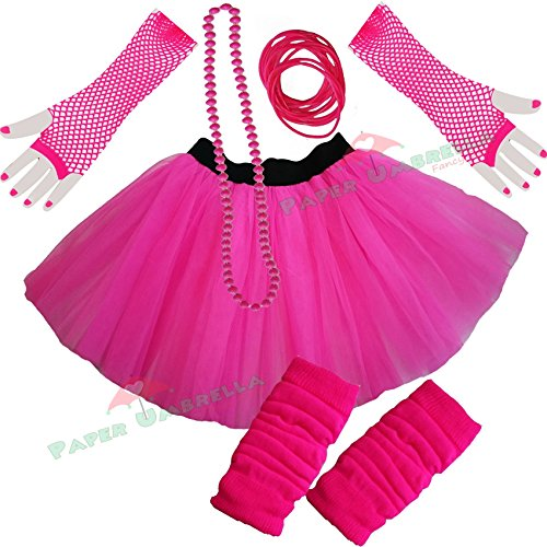Ladies Neon Pink Tutu Skirt and Accessories Set - Sizes 8 to 22