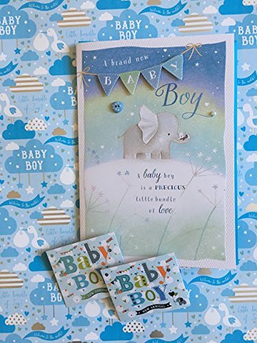 Baby Boy Geschenkpapier & Tags Paket mit Baby Boy Geburtstag Herzlichen Glückwunsch Karte Stork Bringing A Baby