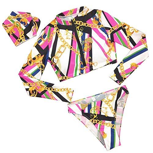 Pangding Badeanzug-Satz, der Lange Hülsen-Bikini-Badebekleidungs-Druck der sexy Frauen trennt Badeanzug für Strand-Swimmingpool(L) (Frauen Trennt Anzug)