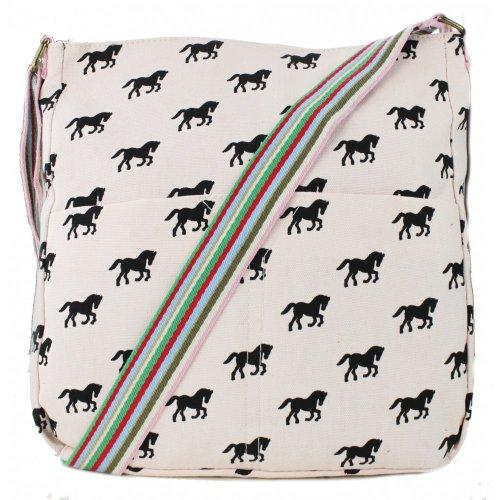 Miss Lulu Tela Borsa a tracolla borsa a tracolla Cross Body Back To School Cavallo Stampa Pink