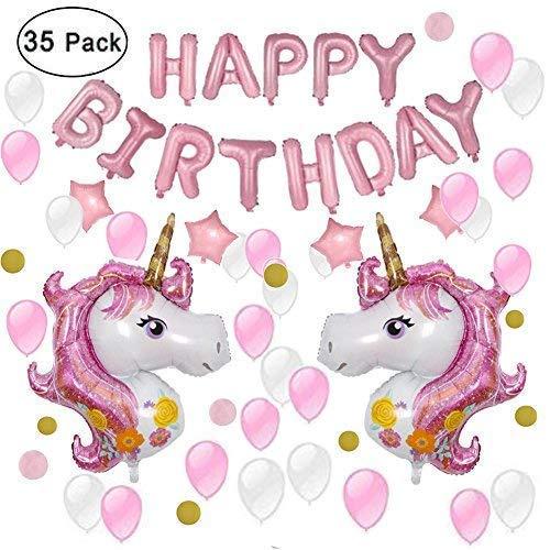 IEONGI Einhorn PartyDekoration, Einhorn Party Lieferungen Thema Ballons mit Alles Gute zum Geburtstag Brief Banner Girlande, Geburtstag Party Mädchen und Jungen
