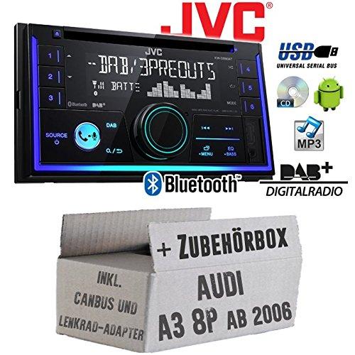 Autoradio Radio JVC KW-DB93BT - 2-DIn DAB+ Bluetooth MP3 USB - Einbauzubehör - für Audi A3 8P inkl. CanBus Lenkradfernbedienung Aktiv - JUST SOUND best choice for caraudio