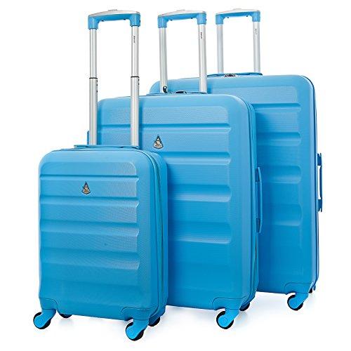 Aerolite ABS Juego de 3 Equipaje Maleta rígida Ligera con 4 Ruedas, Azul