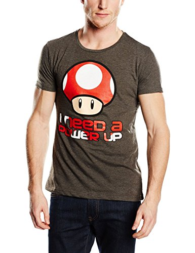 Unbekannt Super Mario Power Up T-Shirt Grau Meliert grau
