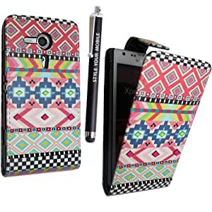 GSDSTYLEYOURMOBILE {TM} SONY XPERIA SP M35H PREMIUM QUALITY PU LEATHER MAGNETIC FLIP CASE SKIN COVER POUCH + STYLUS (Aztec Dark Tribal Retro Vintage)
