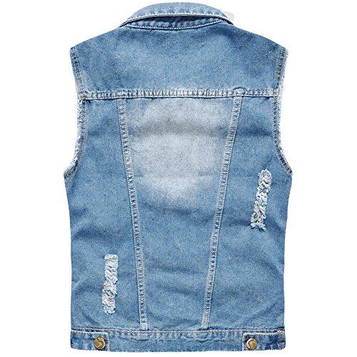 YOUTHUP Herren Jeans Denim Weste fashion Jeans Casual Weste Hell Blau (Design 2)