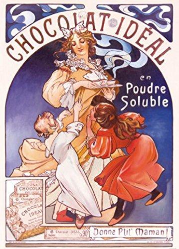 Preisvergleich Produktbild 1art1 74430 Alphonse Mucha - Chocolat Idéal,  1897,  2-Teilig Fototapete Poster-Tapete 250 x 180 cm