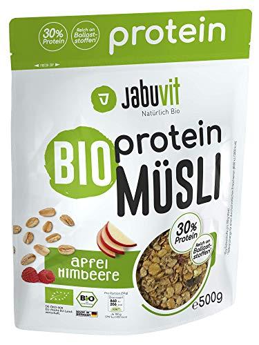 JabuVit Bio Protein-Müsli - 30% Proteinanteil - wenig Kohlenhydrate und Zucker - 500g Apfel Himbeere