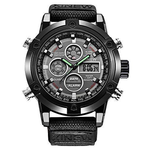 REALIKE Herren Digitale Armbanduhr,Nylonband Outdoor Laufen wasserdichte Uhren, Cool Sport große Anzeige Sportuhr mit LED für Männer Erwachsene Smart Watch