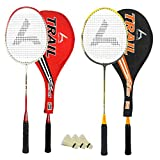 #10: Guru Trail BR06 COMBO-02 Badminton Racket Set Pack of Two With Two Cover & 3 Shuttlecock Size: 27 inch