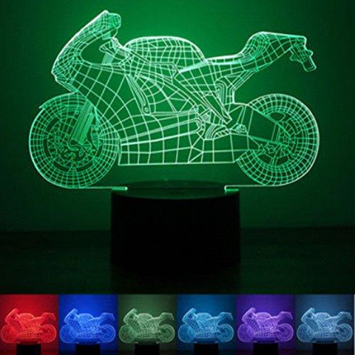3D Leuchte 3D Lampe Deko 3D LED Lampe Hologramm mit Farbwechsel - Motiv Motorrad ca.15x20cm inkl.Sockel - 3D Illusion Dekolicht Nachtlicht mit USB Anschluß