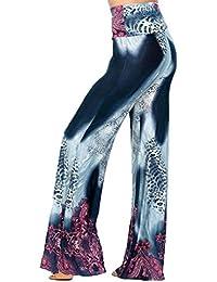Hibote Pantalones Mujer Pantalones Bootcut cómodos Pantalones Acampanados  de Cintura Alta Estampado de Flores Pantalones Casuales c8ce81a8dd1d