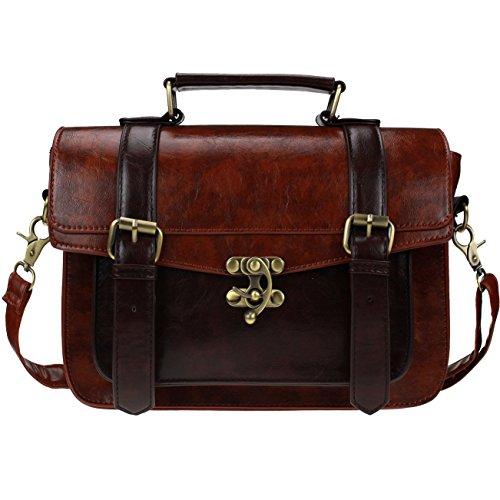 VEVEN Vintage Damen Handtasche Schultertasche Umhaengetasche (Braun)