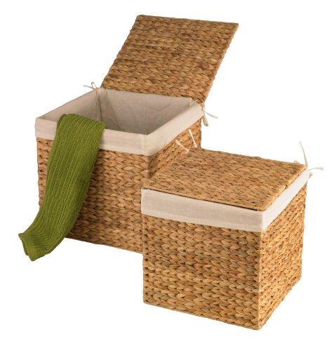 artra design GmbH Wasserhyazinthe Körbe Truhen 2er Set M quadratisch Wäschebehälter nachhaltige Wäschetruhe Aufbewahrungsbox mit Deckel Aufbewahrungskiste Aufbewahrungstruhe Wäschetruhe