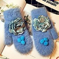WWF Pequeño Y Puro Y Fresco Bulbo Floral Bola Pelo Largo Peinado de Imitación de Pelo Mezclado Guantes Encantadores Más Mitones para Mantener el Calor,Azul,Todo el código