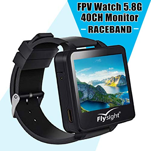 Watch Video (Flysight 5.8Ghz FPV Watch Racing Band 40Channel Receiver Mini Wearable Screen Monitor Watch with Raceband HD 2 Inch Real-IME Video Display for RC Drones Compatible with Bos200RC Gteng Watch)