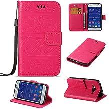 SZYT Móviles funda para Samsung Galaxy Core Prime G360 / Samsung Galaxy Prevail LTE, Modelo en relieve de elefante Función de Billetera case de teléfono Con la correa de la manija y la ranura para tarjeta, Rosa