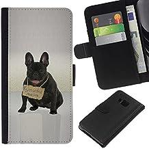 Smartphone PU cuir Wallet Cas Couvercle de protection Housse coque Fente à monnaie Card Slots Case HTC One M7 // Mignon Bulldd français message de Russie // JUSTGO PHONE PROTECTOR