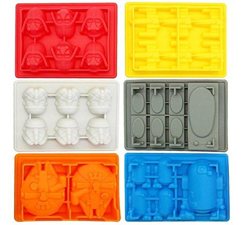 iNeibo kitchen Star Wars Eiswürfelform – 6 verschiedene Formen im Set - 100% Lebensmittelsilikon- BPA frei- FDA-zugelassenen- für Eiswürfel, Schokolade, Süßigkeiten, Götterspeise- 30 Tage rückgaberecht und 1 Jahre (Solo Wars Star Von)