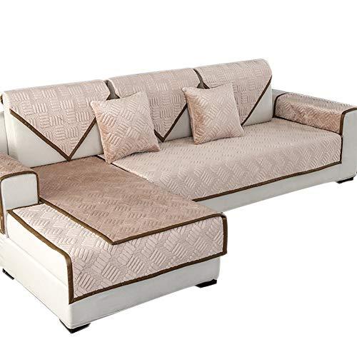 Z-one Plüsch Sofa Abdeckung Schnitt, Anti-rutsch Einfarbig Sofa Überwurf Mit Gestrickte ränder Sofa Throw Für L-Fürm Sofa Nicht verkauft durch sätze-Kamel 90x160cm(35x63inch)