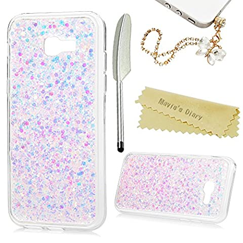 Mavis's Diary A5 2017 Case ,A5 Glitter Case (2017 Model) - [Solid Shiny Design] Glitter Bling Flexible TPU Gel Rubber Soft Skin Silicone Clear Cover Ultra [Slim Thin] Bumper Protective Case for Samsung Galaxy A5 2017 - with Dust Plug & Stylus - Pink (Not for 2015/2016