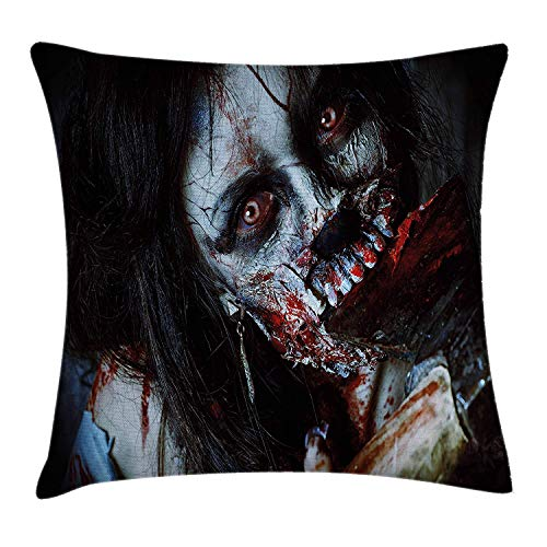 cor Throw Pillow Cushion Cover, Scary Dead Woman with Bloody Axe Evil Fantasy Gothic Mystery Halloween Picture, Decorative Square Accent Pillow Case, 18 X 18 inches, Multicolor ()